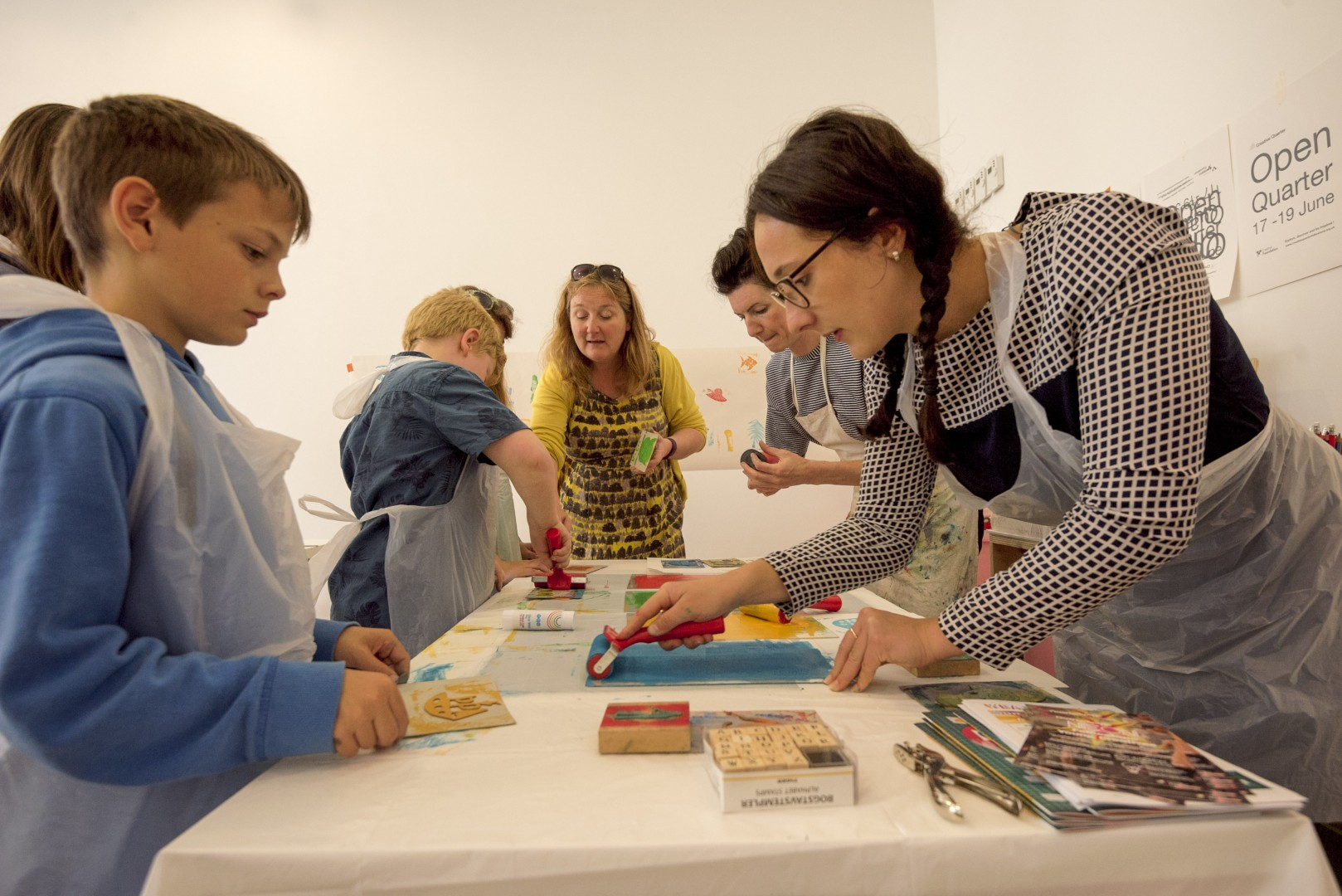 Family Printing Workshop at Block 67  Folkestone Creative Quarter  June 2016  photo by Ben Hart
