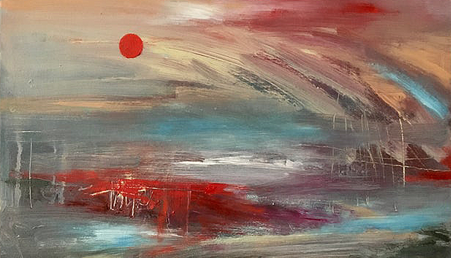 Seascape with Red Sun by Matt James Healey