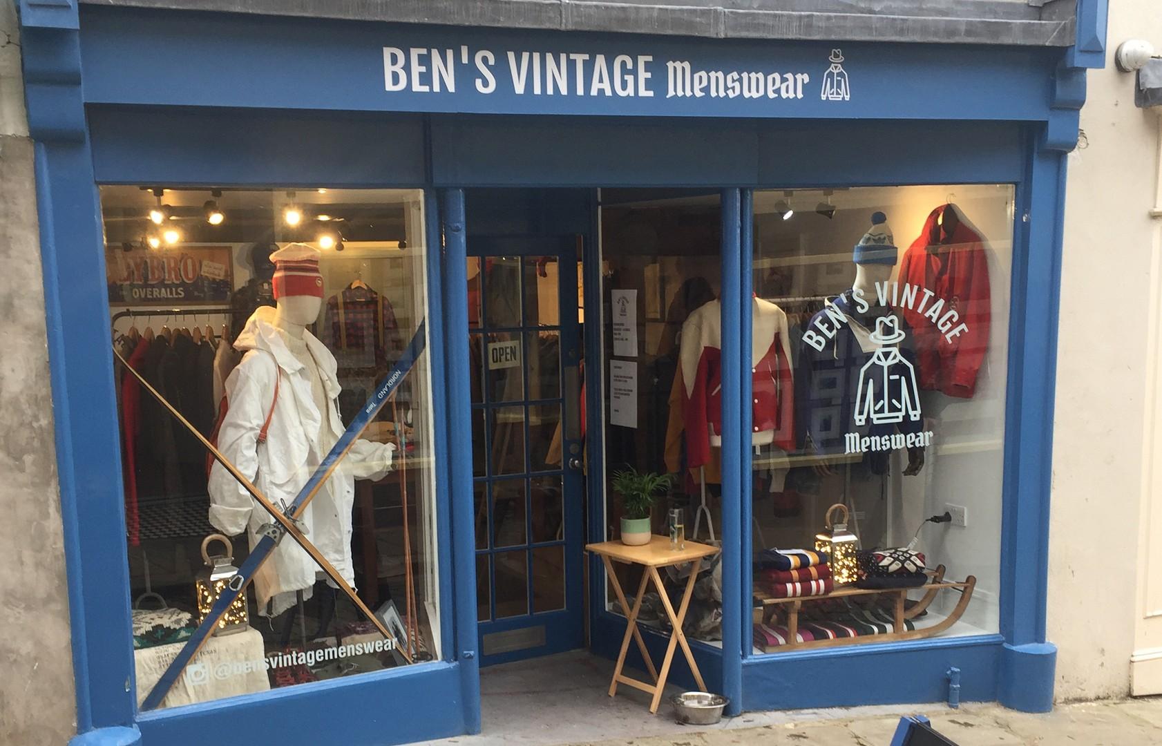 Bens Vintage Menswear shop front