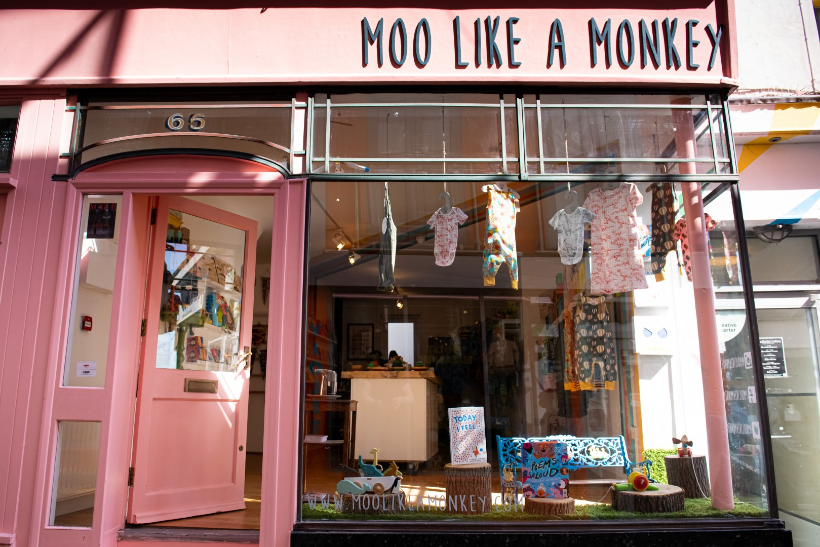 Moo Like a Monkey shop front and window display