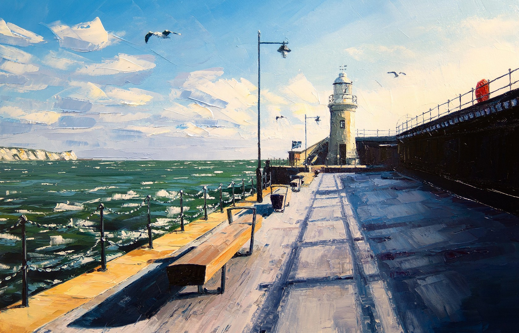Painting of Folkestone Harbour Arm by Shane Record of Folkestone Harbour Arm