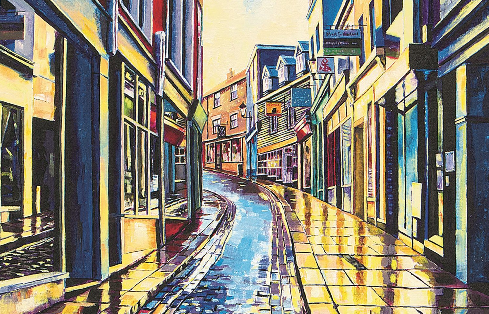 Painting of The Old High Street by Shane Record of Folkestone Harbour Arm